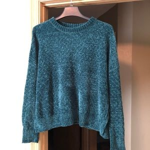 Dark Emerald Green Chenille Cropped Sweater